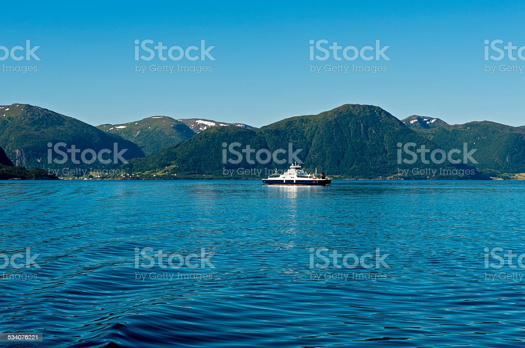 Ferry  crossing the Sognefjord stock photo