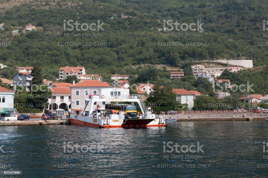 Ferry crossing through Kotor Bay, Montenegro. stock photo