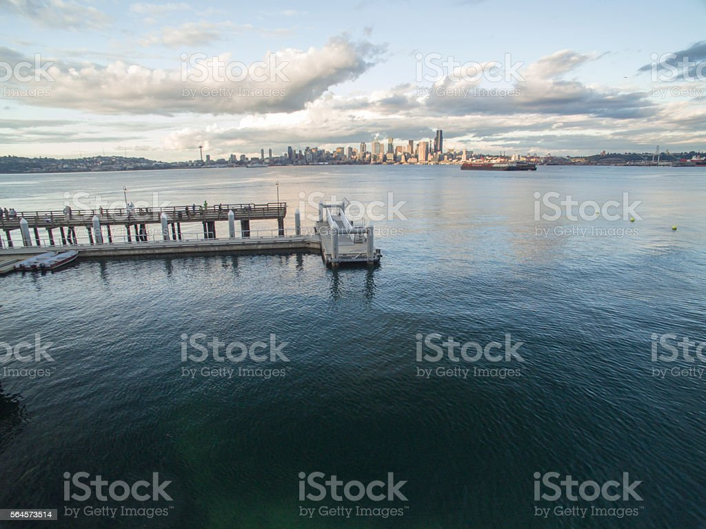 Ferry Dock on West Seattle Waterfront Looking Towards Downtown Seattle stock photo
