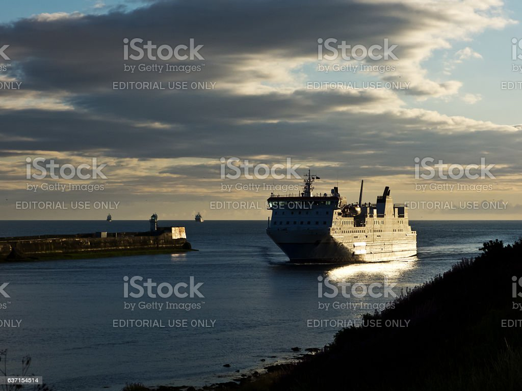 Ferry Enters Harbour stock photo