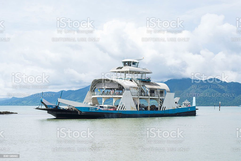 Ferry from Trat to Koh Chang arriving on Trat side stock photo