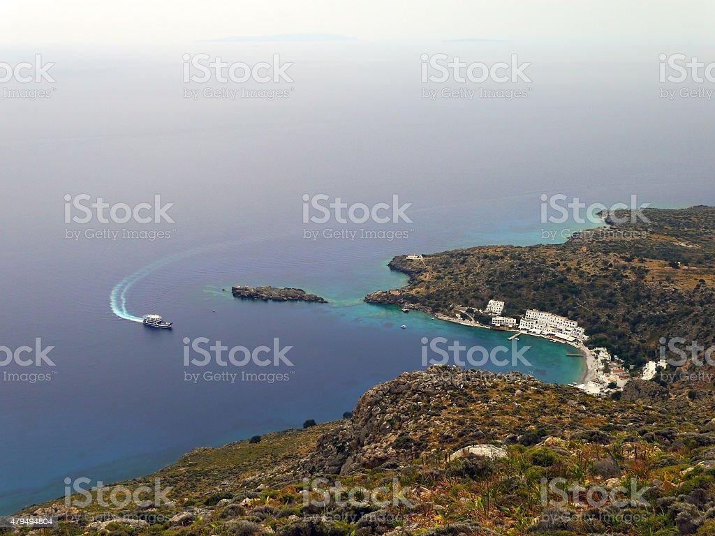 Ferry go to Loutro stock photo