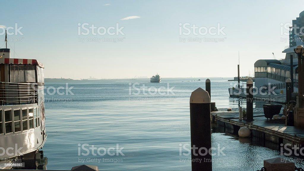 Ferry hazy morning stock photo