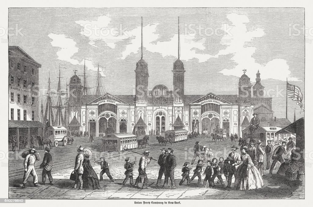 Ferry house of the Union Ferry Company, New York, 1865 stock photo