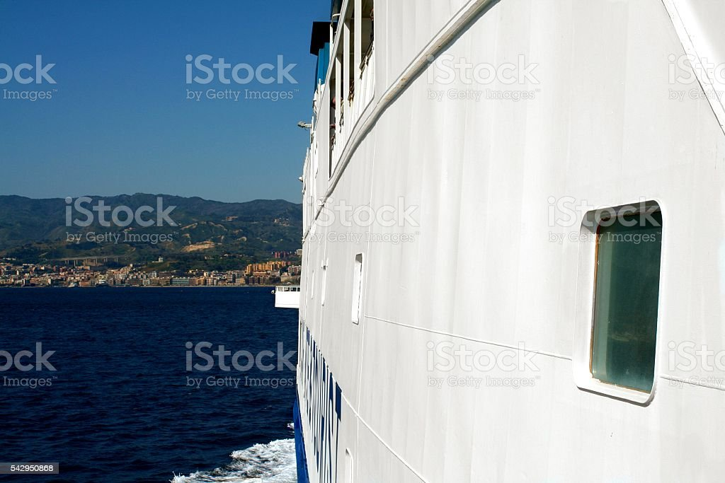 Ferry hull Strait of Messina Sicily Calabria Italy stock photo