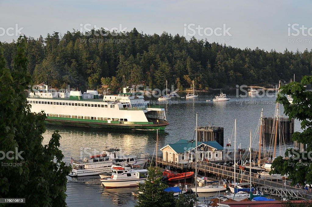 Ferry in Harbor stock photo
