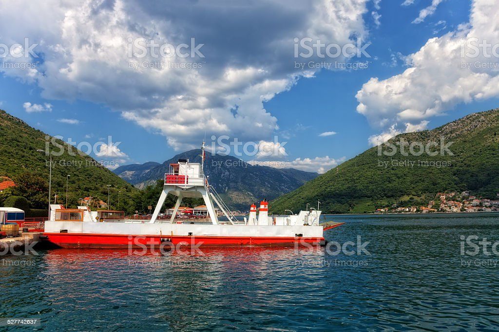 Ferry in Kotor Bay stock photo