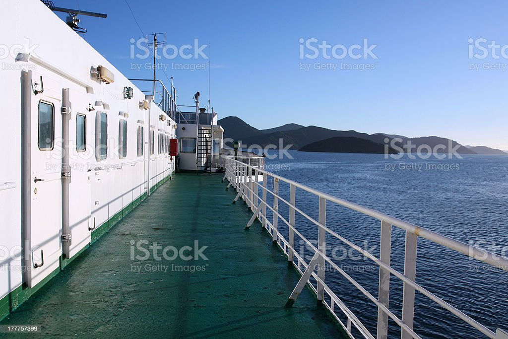 Ferry in New Zealand stock photo
