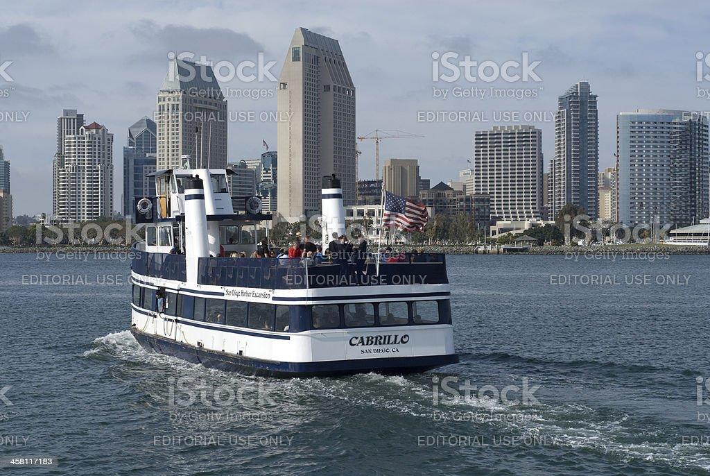 Ferry in San Diego Harbor stock photo