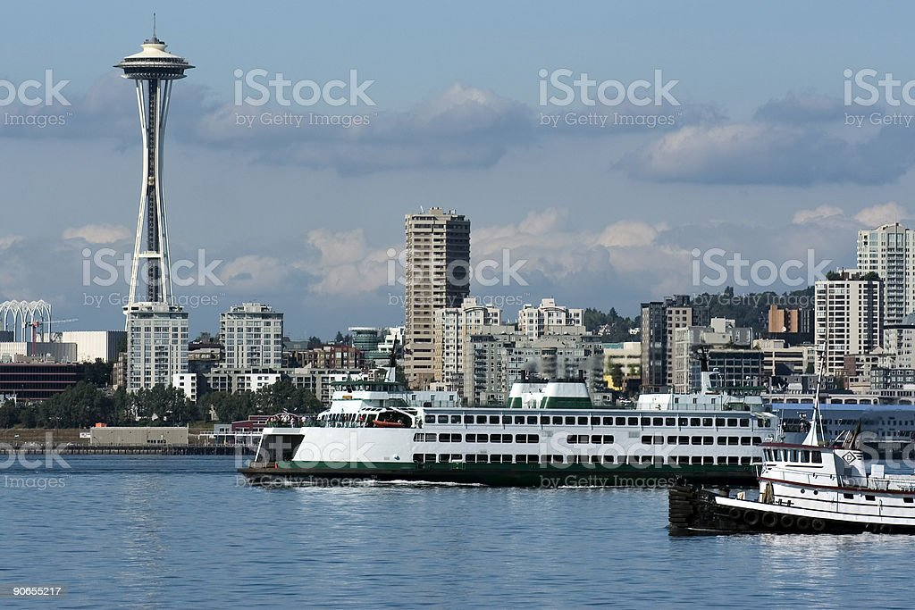 Ferry in Seattle to Olympic Peninsula royalty-free stock photo