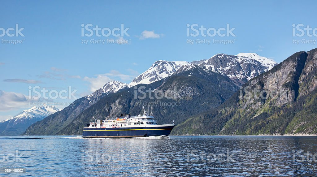 Ferry in Southeast Alaska stock photo