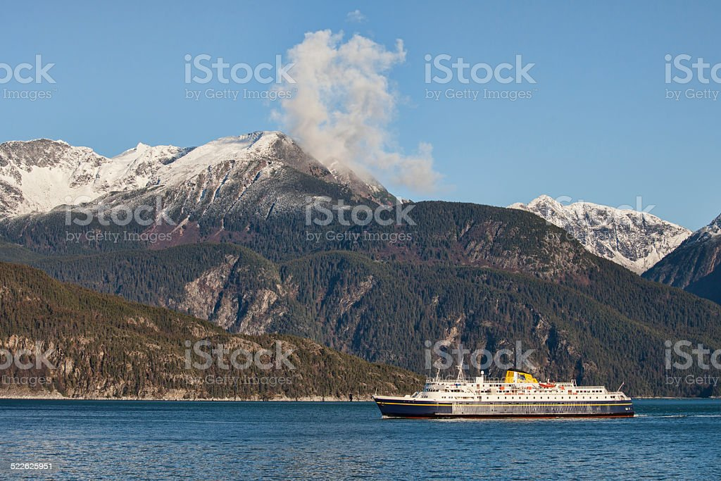 Ferry in the Lynn Canal stock photo