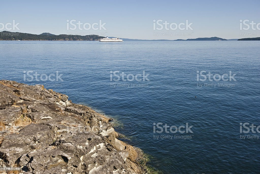 Ferry in the Strait of Georgia royalty-free stock photo