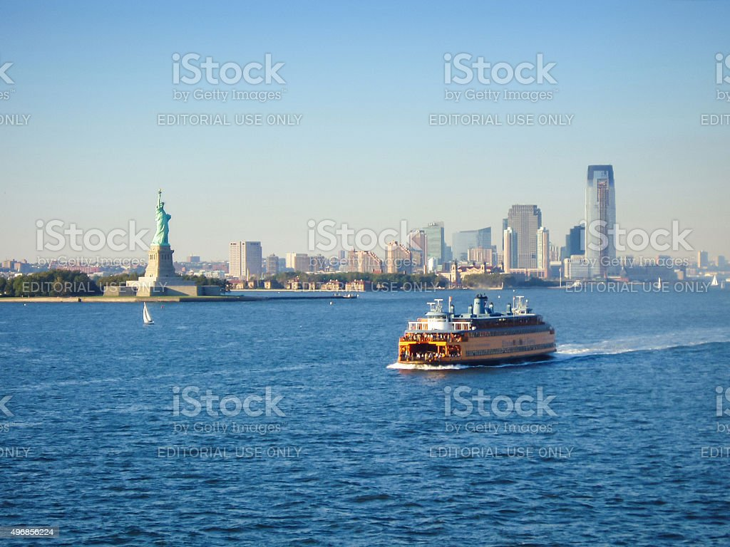 Ferry in Upper New York Bay stock photo