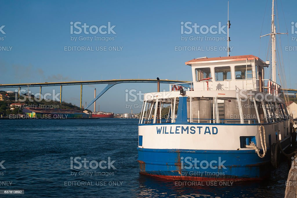 Ferry in Willemstad, Curacao stock photo