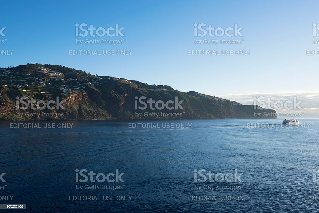 Ferry leaving Funchal, Madeira stock photo