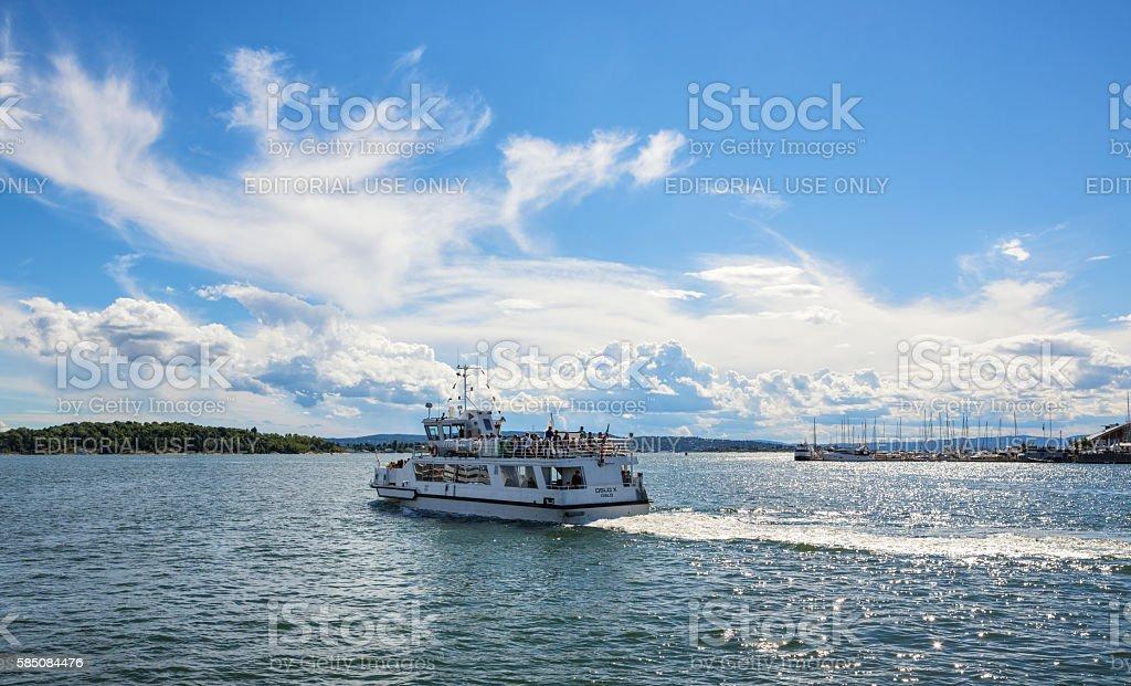 Ferry leaving Oslo harbor, Norway stock photo