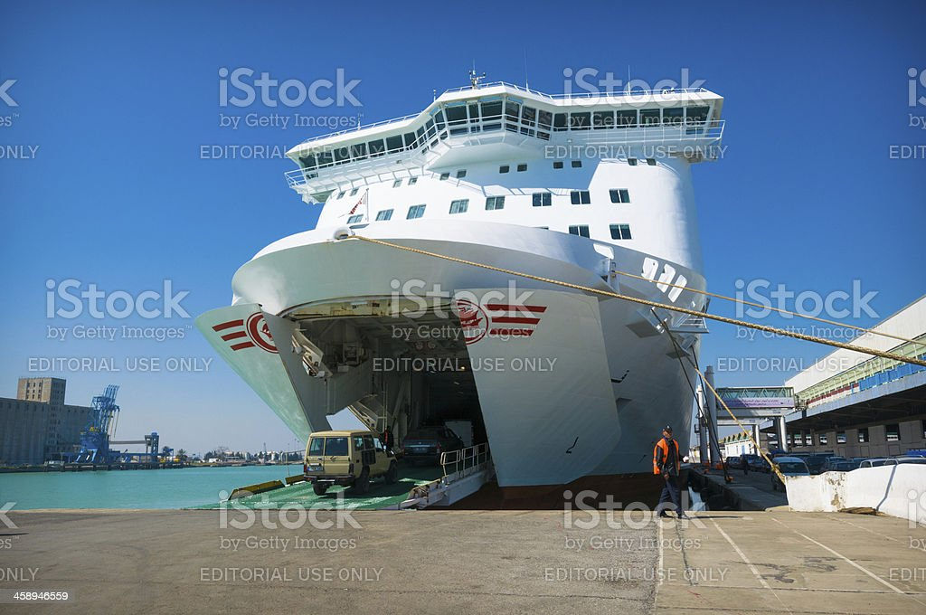 Ferry loading stock photo