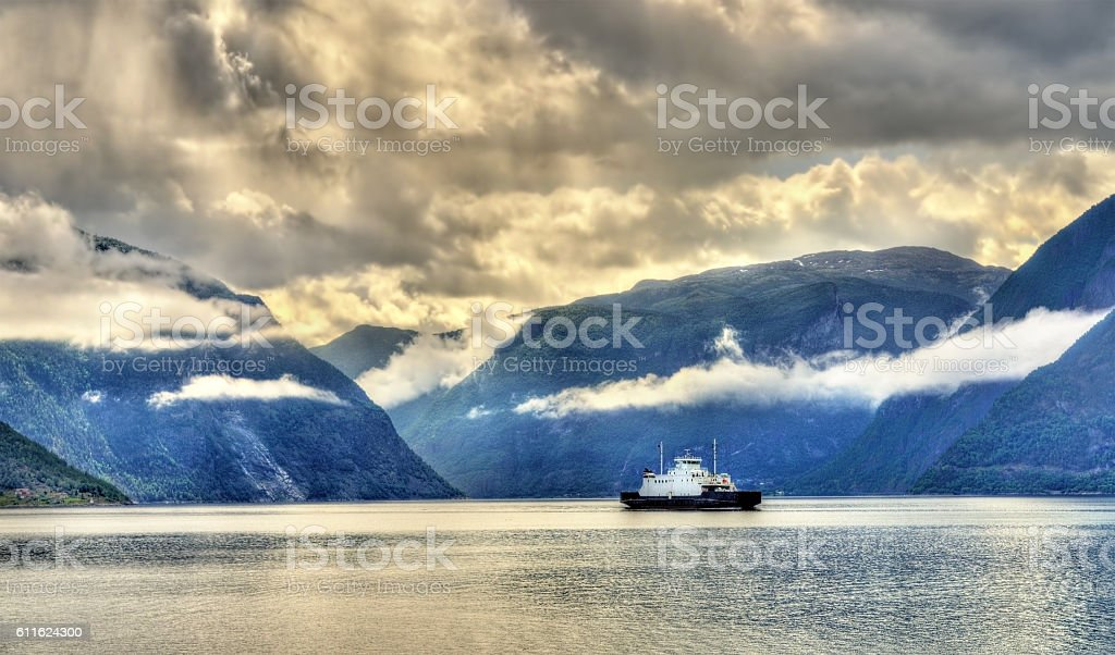 Ferry Mannheller - Fodnes crossing the Sognefjord - Norway stock photo