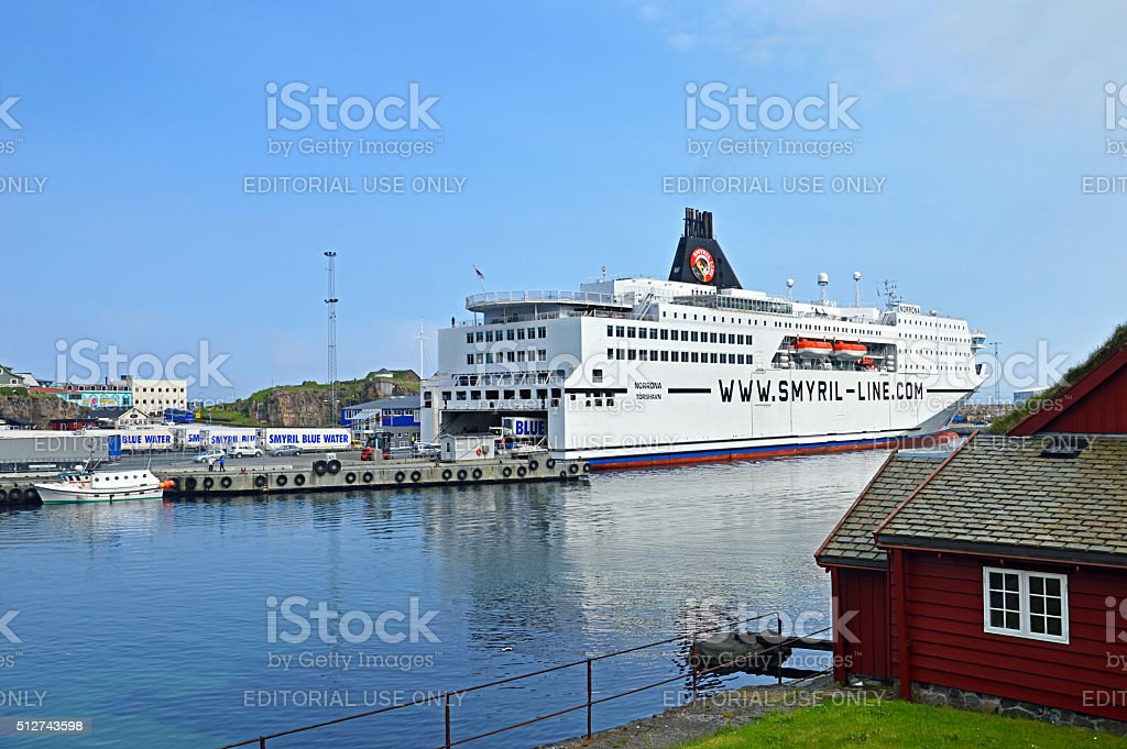 Ferry Norröna in Torshavn stock photo