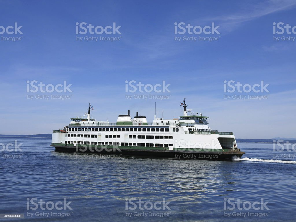 Ferry on clear sunny day stock photo