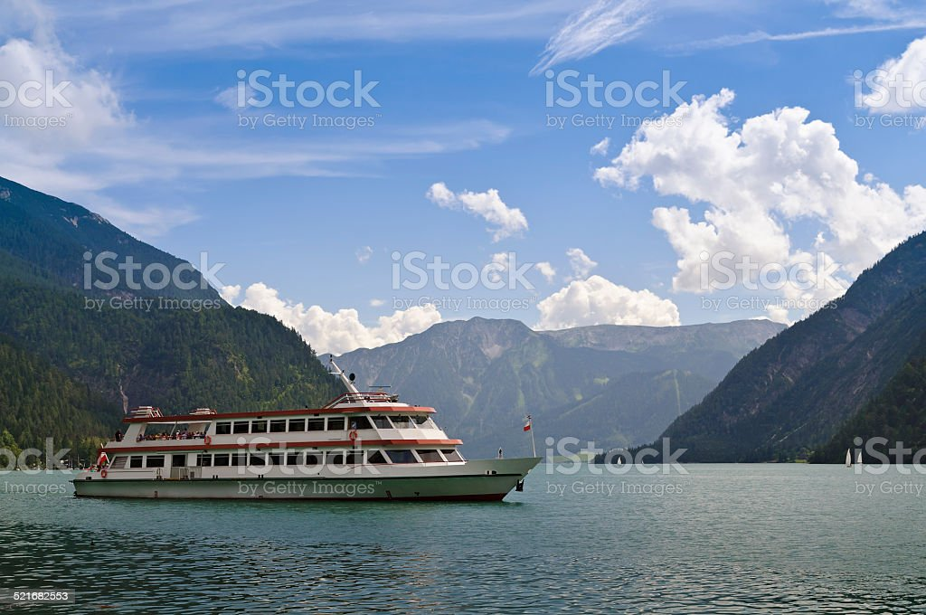 Ferry on lake Achensee in Tirol, Austria stock photo