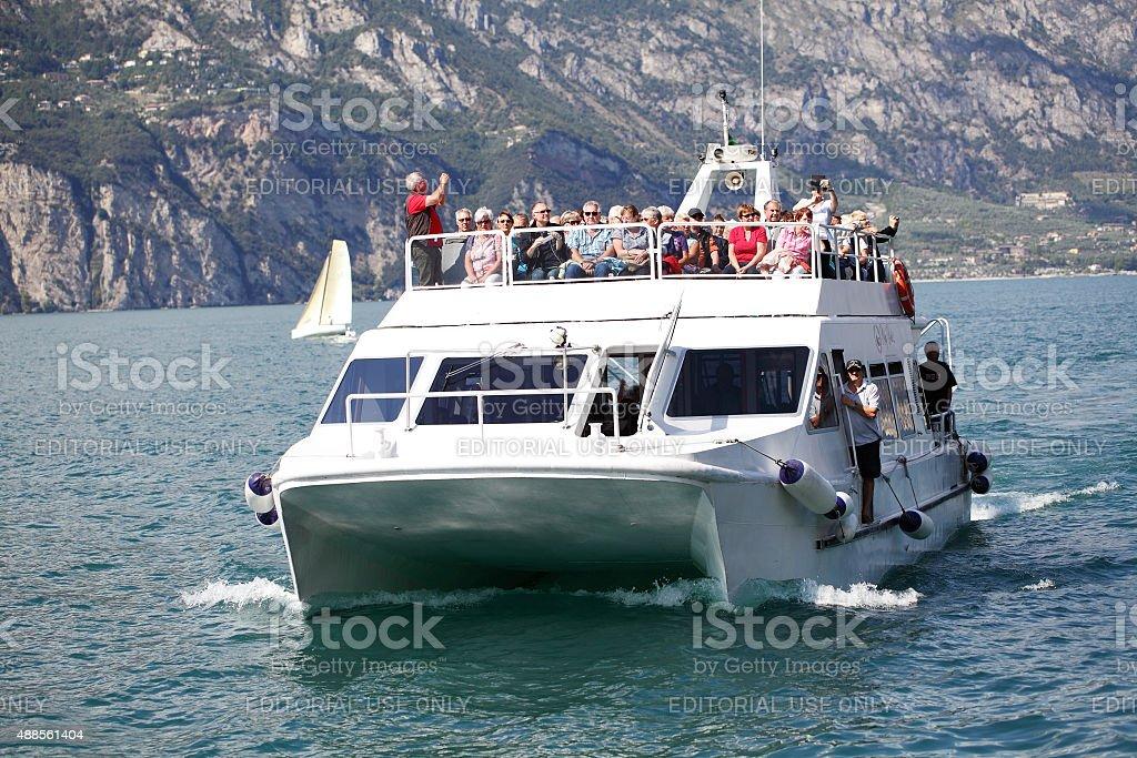 Ferry on Lake Garda stock photo