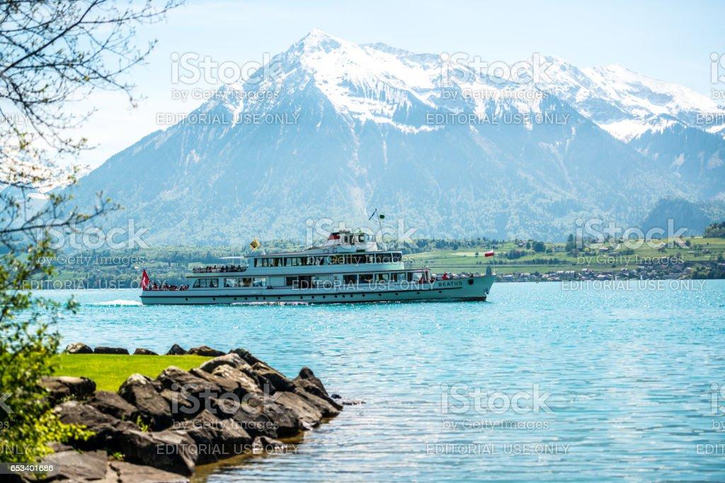 Ferry on Lake Thun and Swiss Alps, Switzerland stock photo