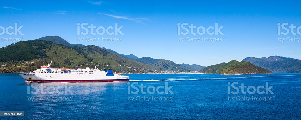 Ferry on Queen Charlotte Sound of Cook Strait, New Zealand stock photo