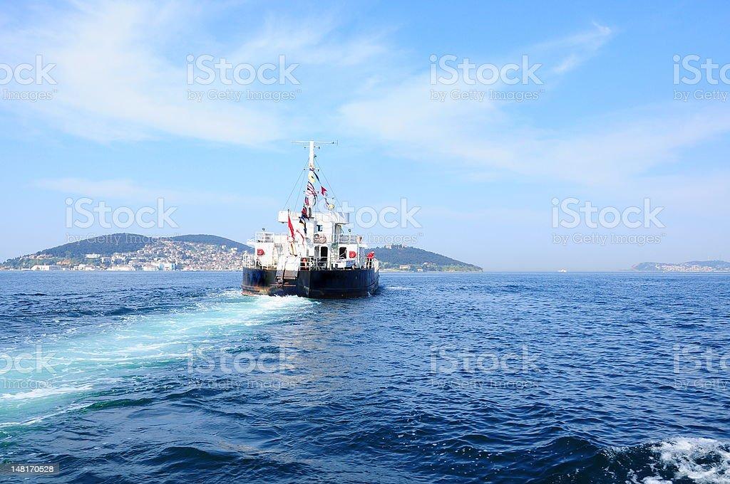 ferry on sea royalty-free stock photo