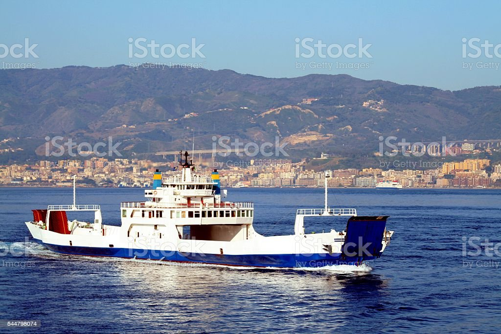 Ferry on Strait of Messina Sicily Calabria Italy stock photo