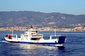 Ferry on Strait of Messina Sicily Calabria Italy