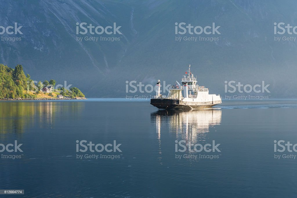 Ferry on the fjord, Norway stock photo
