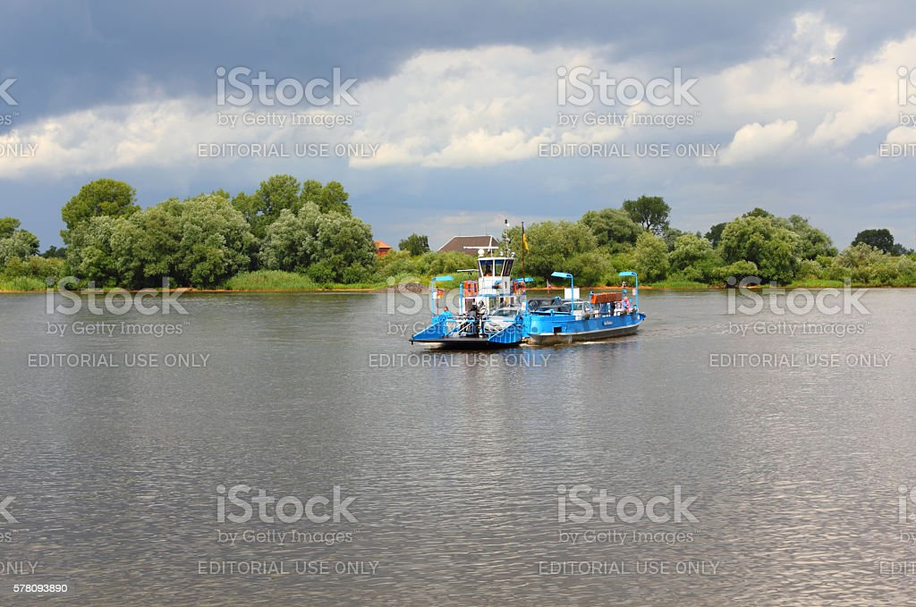 Ferry on the river Elbe, Germany stock photo