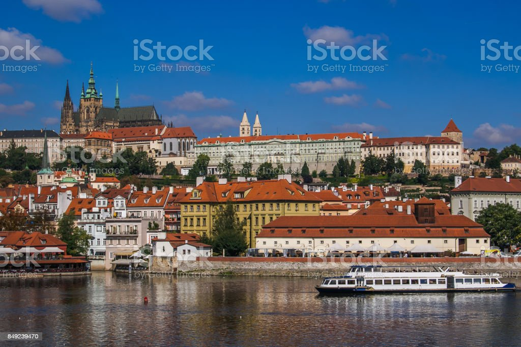 Ferry on Vltava river, Prague stock photo