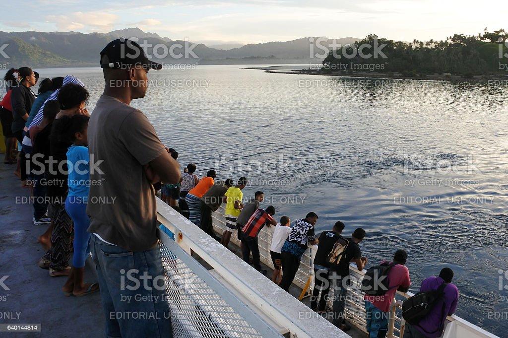 Ferry passengers arrive to Savusavu Vanua Levu Island Fiji stock photo