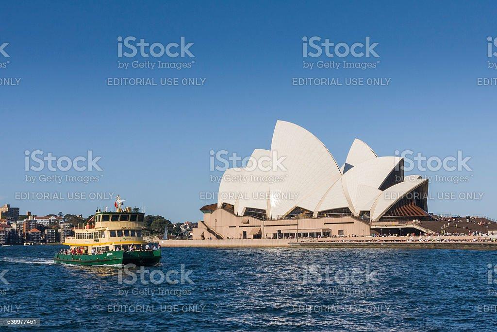 Ferry passing Sydney Opera House stock photo