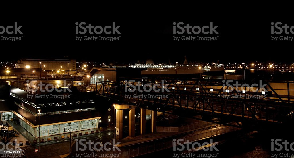 ferry port at night royalty-free stock photo