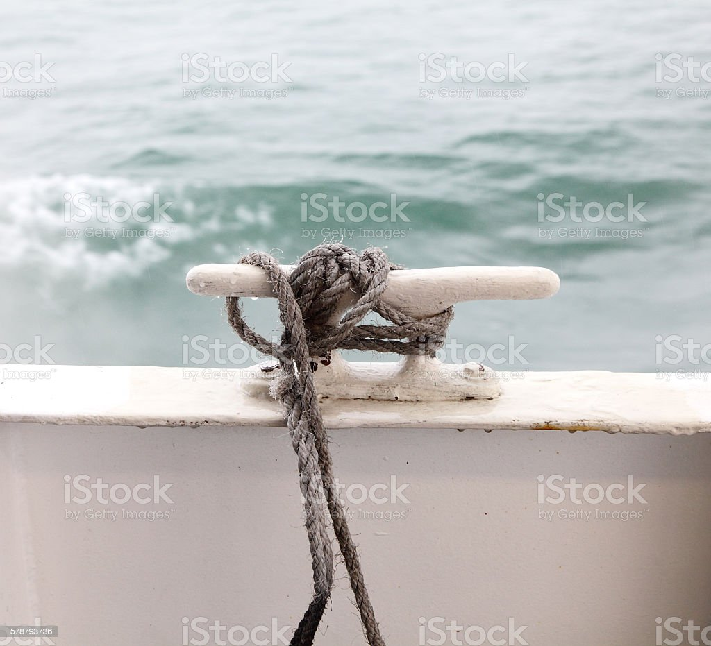 ferry rope bracket on deck stock photo
