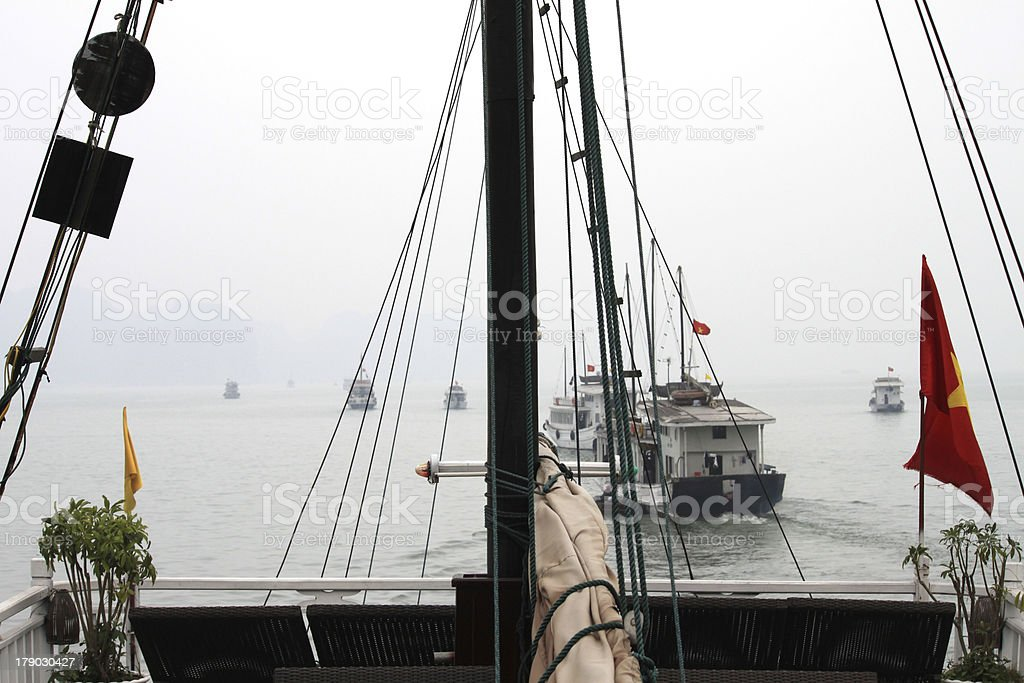 Ferry sailing in Halong Bay, Vietnam royalty-free stock photo