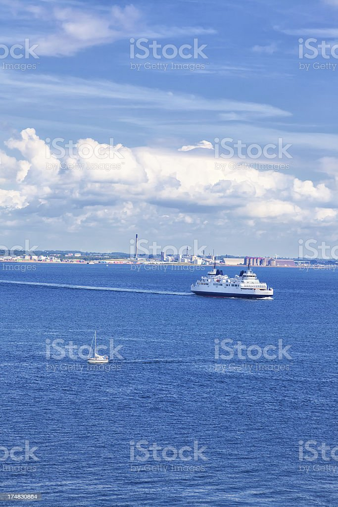Ferry sailing through The Sound, seen from Kronborg Castle stock photo