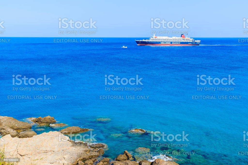 SAMOS ISLAND, GREECE - SEP 21, 2015: ferry ship 'Nissos Rodos' sailing under Hellenic Seaways flag to Karlovasi port on Samos is stock photo