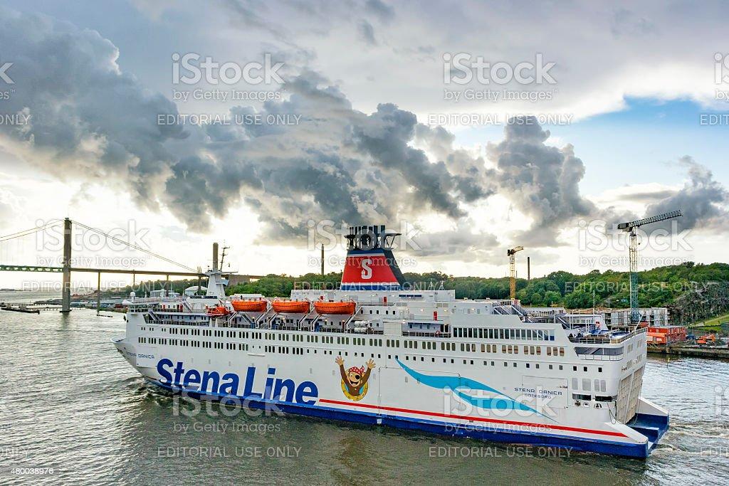 Ferry Stena Danica in the port of Gothenburg in Sweden stock photo