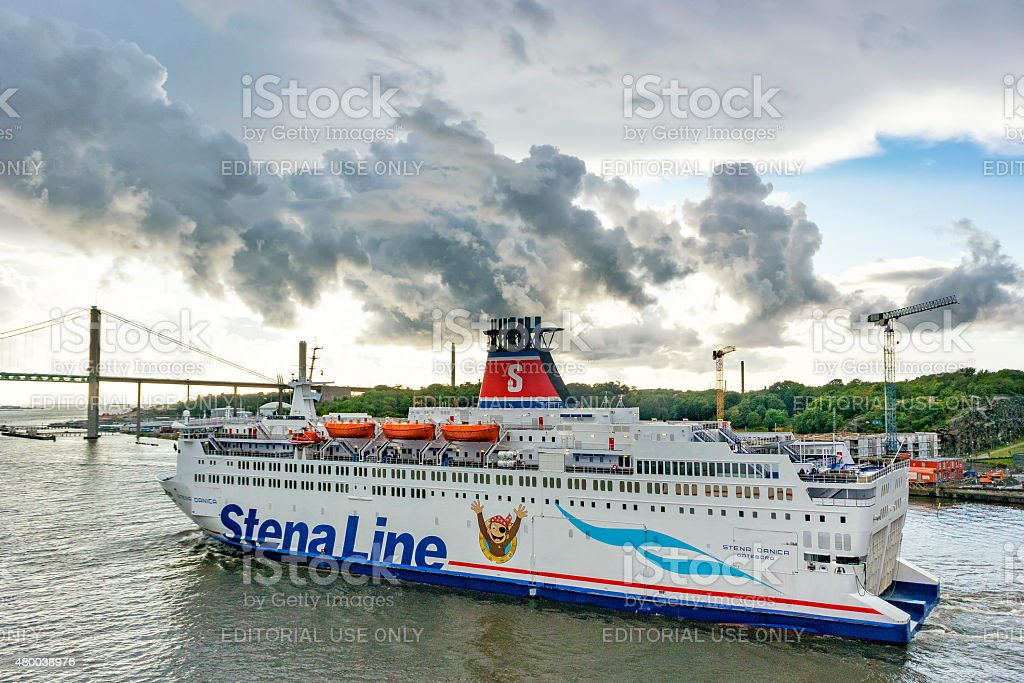 Ferry Stena Danica in the port of Gothenburg in Sweden stock photo