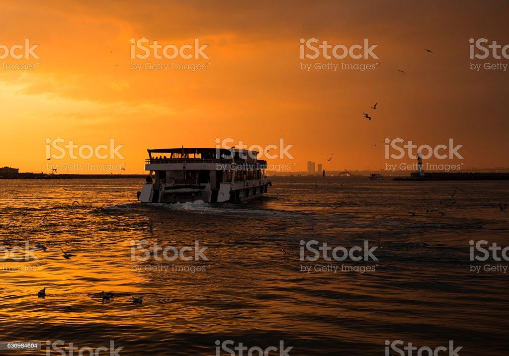 Ferry sunrise landscape stock photo