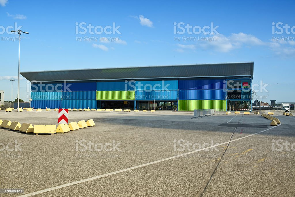 ferry terminal out of continers, cool architecture hamburg stock photo