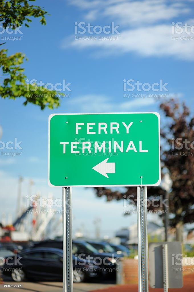 Ferry Terminal road sign stock photo