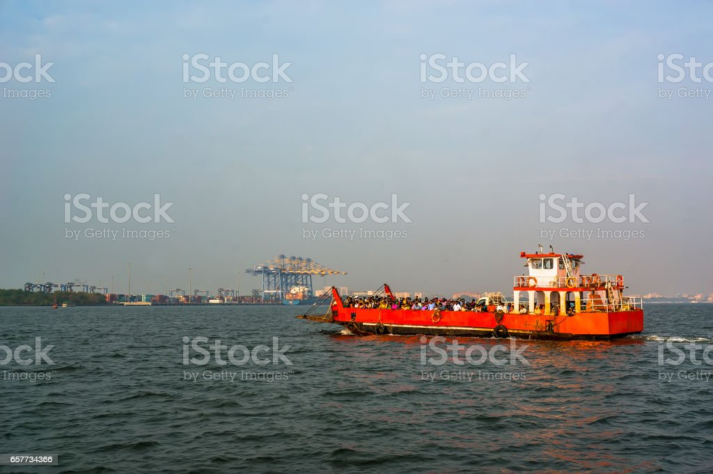 FORT KOCHI, INDIA A ferry transports people to main land Ernakulam in Fort Kochi, India. stock photo