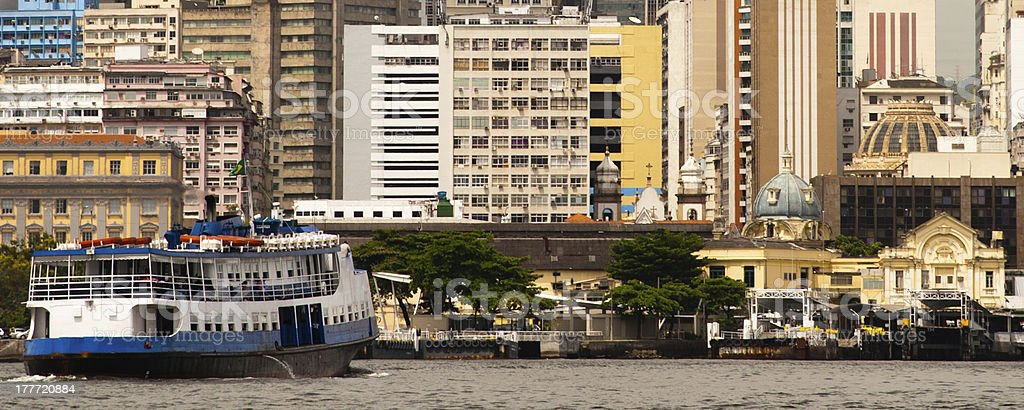 Ferry with buildings of Rio de Janeiro royalty-free stock photo