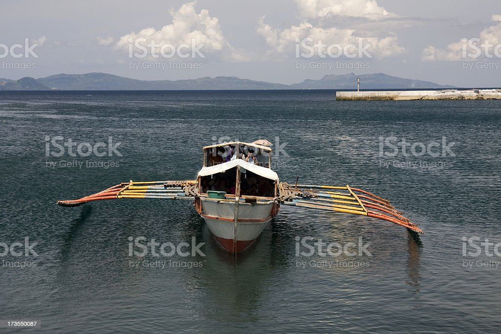 Ferry with outriggers stock photo